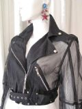 1980's Sheer black nylon vintage cropped biker jacket by La Milliardaire Paris **SOLD**